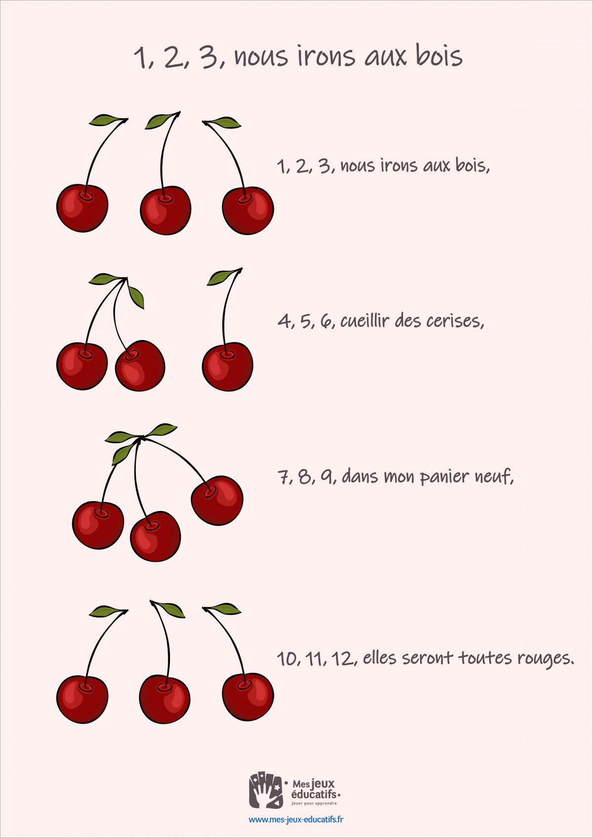 Comptine Pour Compter 1, 2, 3, Nous Irons Aux Bois > Mes pour Apprendre A Compter Maternelle