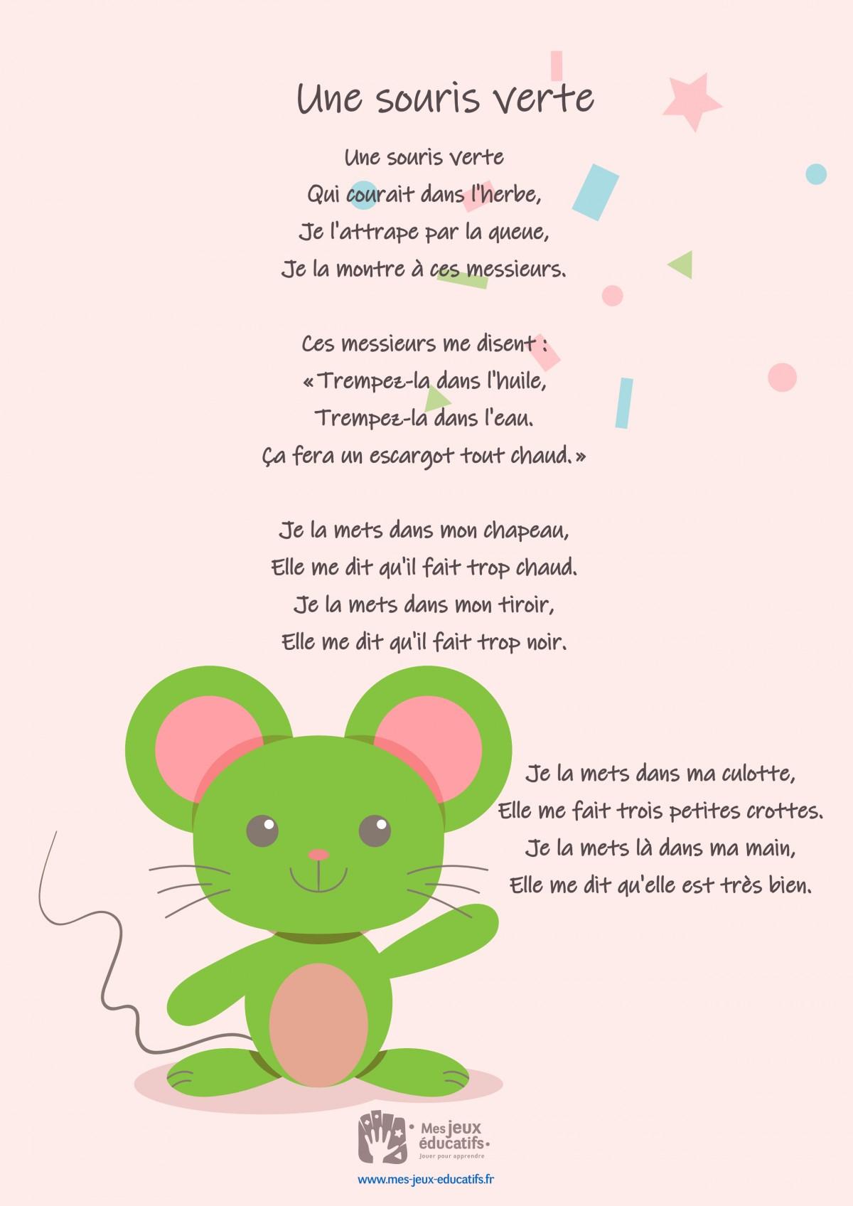 Comptine Une Souris Verte - Paroles De La Chanson > Mes Jeux pour Jeux De La Petite Souris
