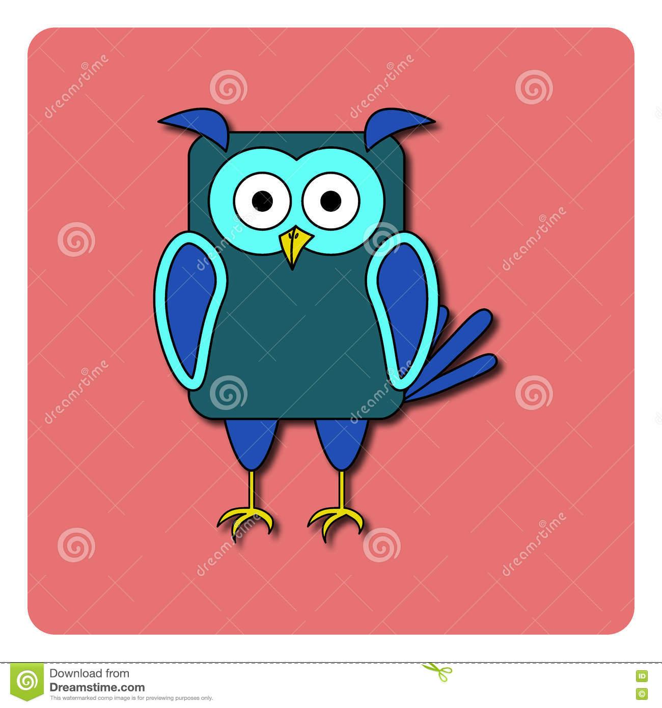Conception Plate D'oiseau Sur Le Fond De Couleur Hibou Bleu avec Hibou Dessin Couleur