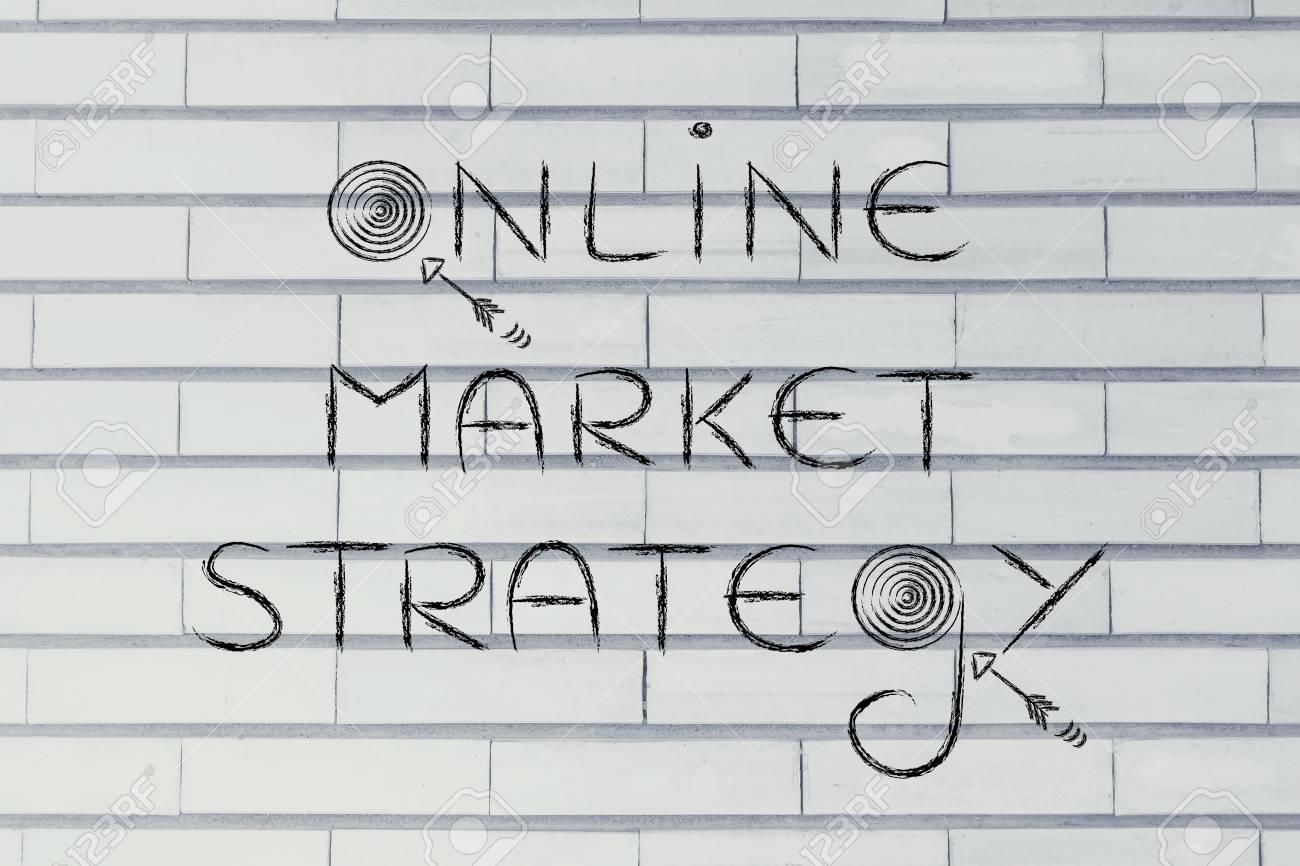 """Concepts De Marketing Numérique: Les Mots «Stratégie De Marché En Ligne""""  Avec Les Objectifs Réels Et Des Flèches pour Mots Fléchés En Ligne"""