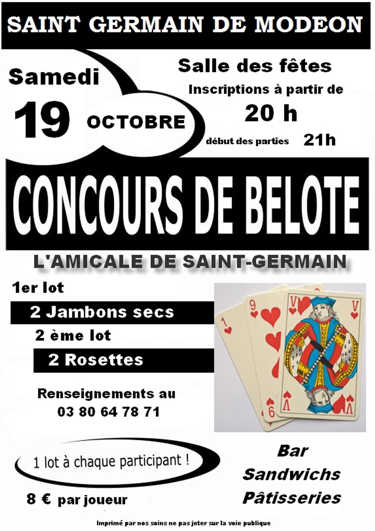 Concours De Belote : Jeu De Cartes Belote A Saint Germain De concernant Jeux De Secs