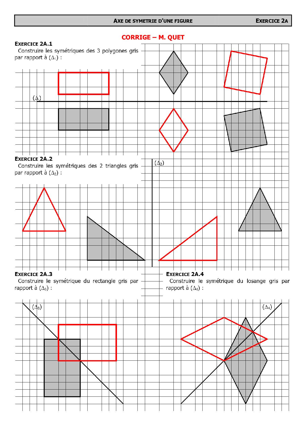 Constructions De Symétriques Avec Quadrillage - Corrigé D destiné Symétrie Quadrillage