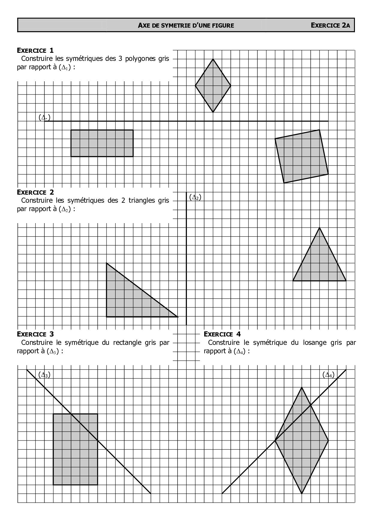 Constructions De Symétriques Avec Quadrillage - Exercices tout Symétrie Quadrillage