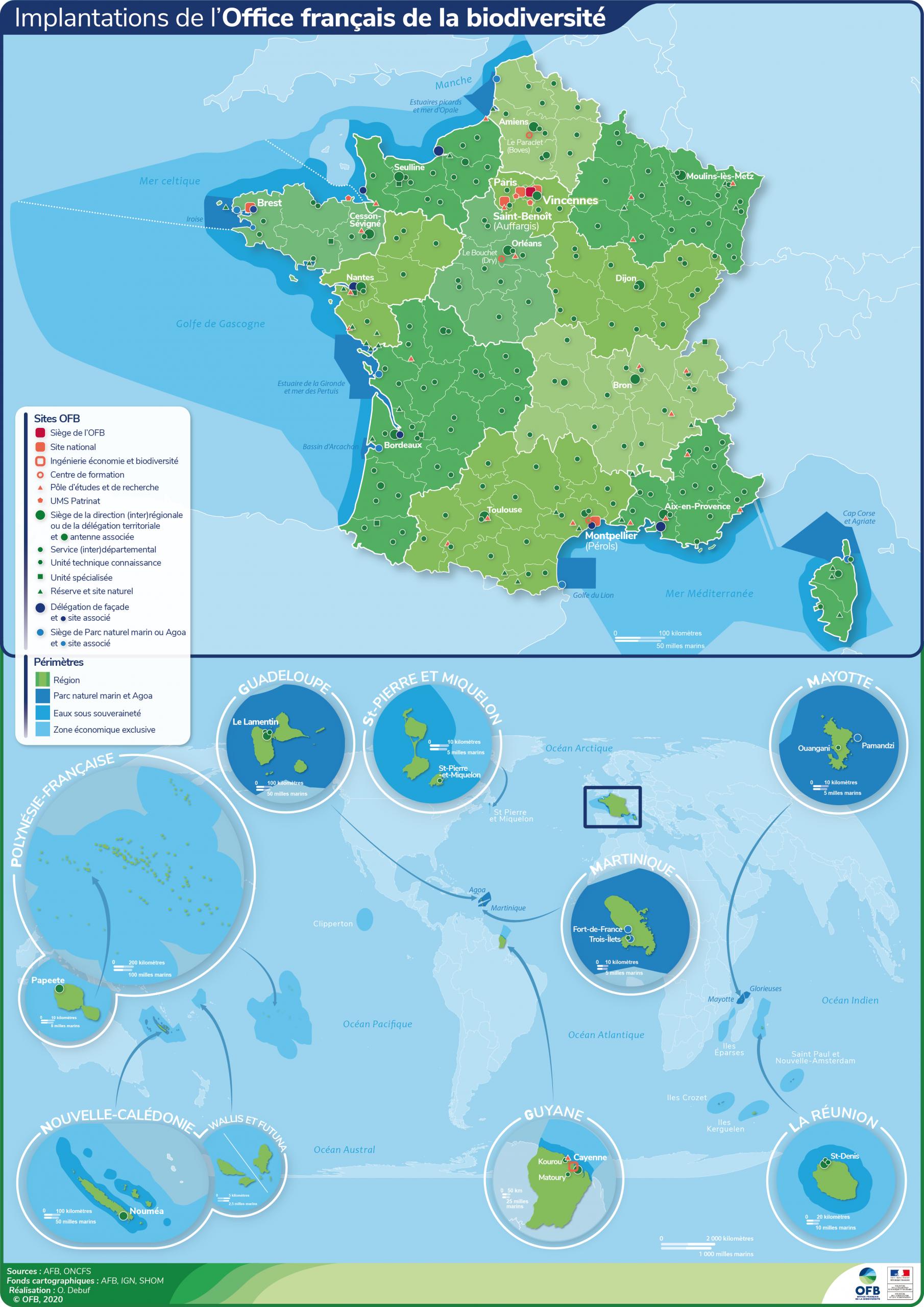 Contacts Et Implantations | Office Français De La Biodiversité intérieur Département D Outre Mer Carte