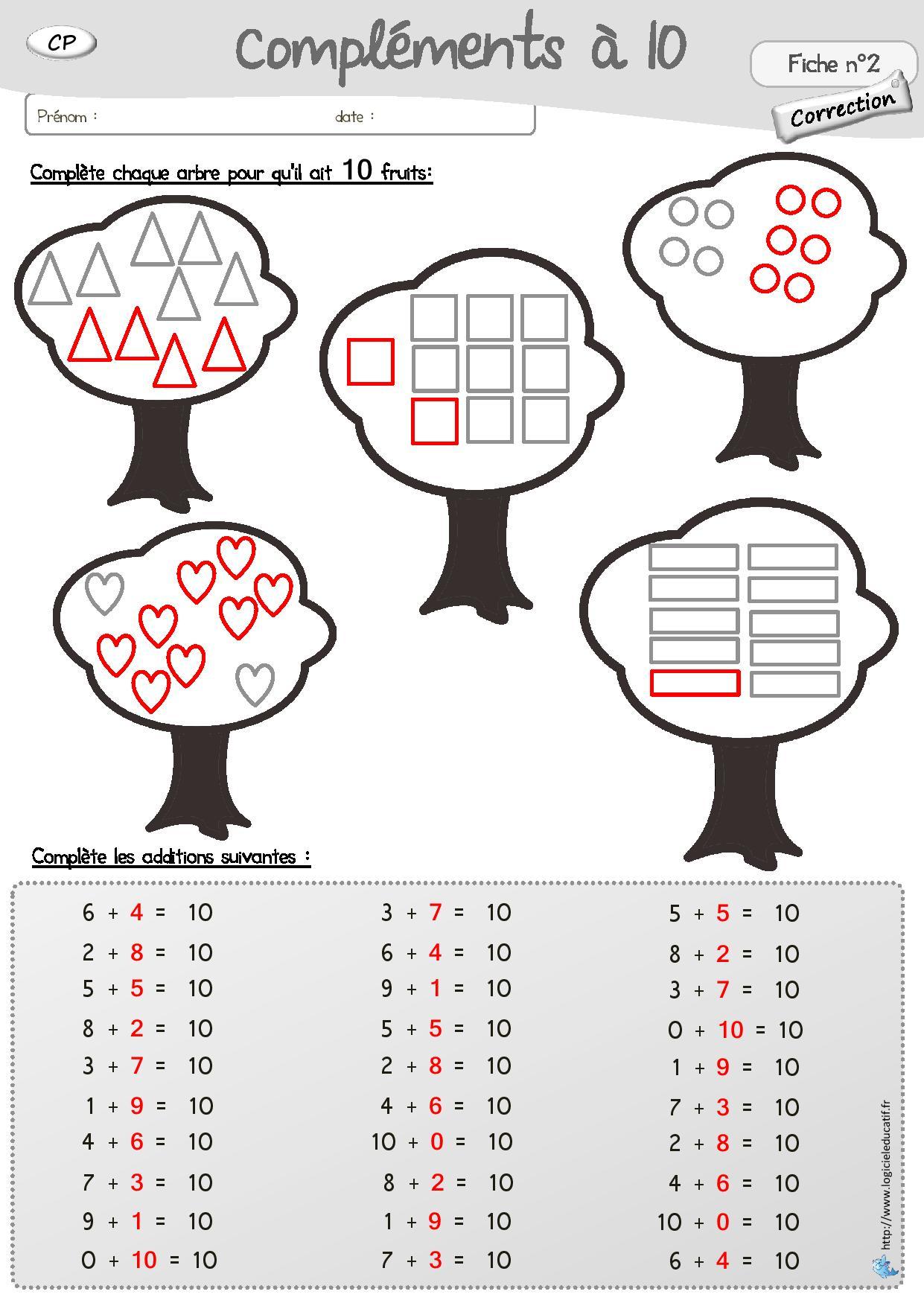Contes Pour Enfants Fiche Maths Les Compléments De 10 À Lire tout Exercice Ludique