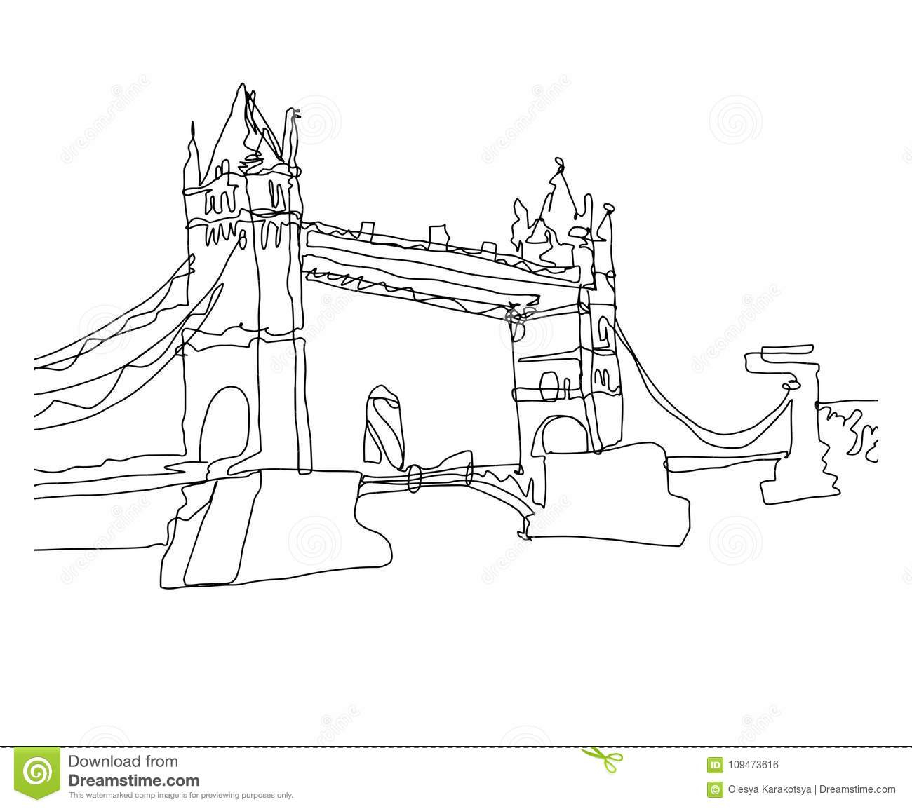 Continu Croquis De Dessin De Schéma De Pont De Tour, Londres encequiconcerne Dessin De Angleterre