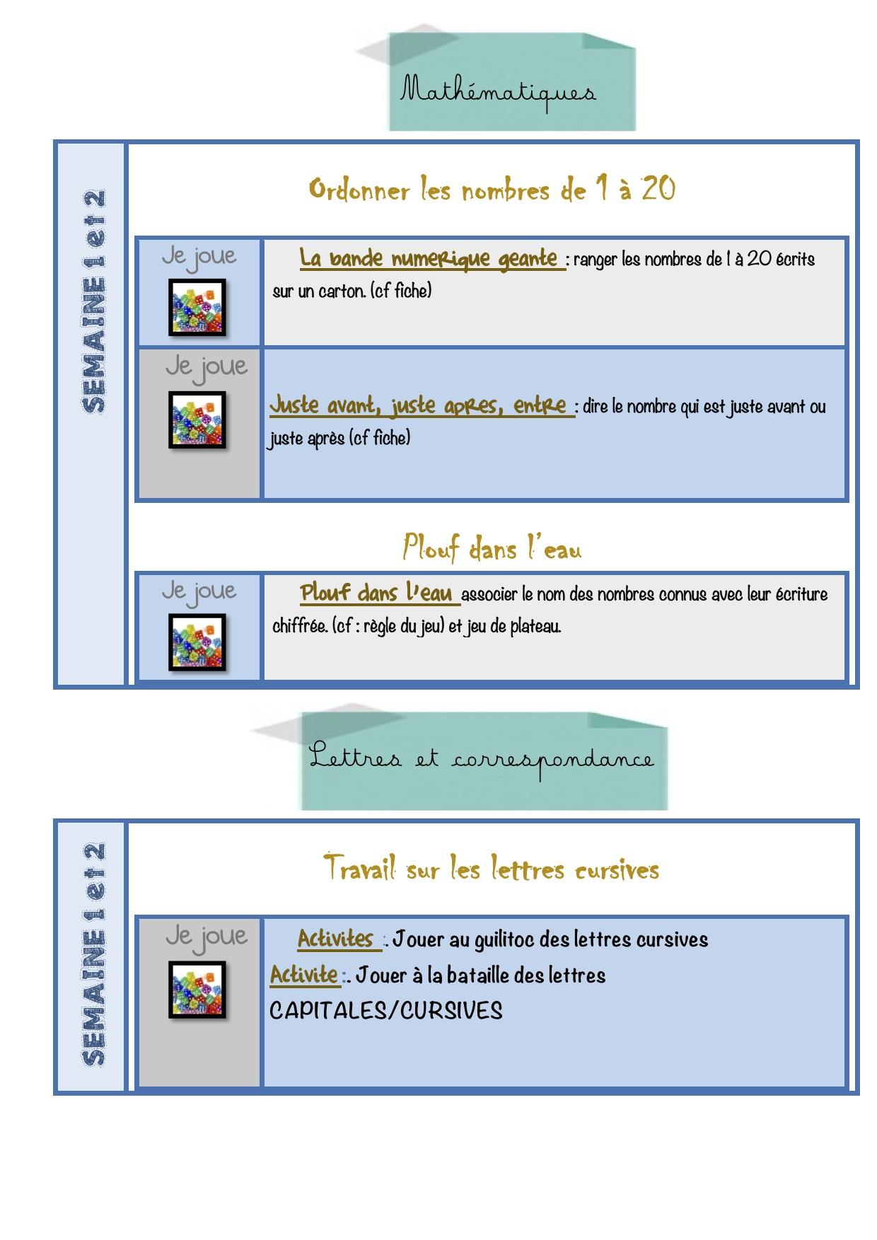 Continuité Pédagogique Gs Semaine 1 Et 2 - La Classe De Luccia ! encequiconcerne Jeux Pedagogique Maternelle
