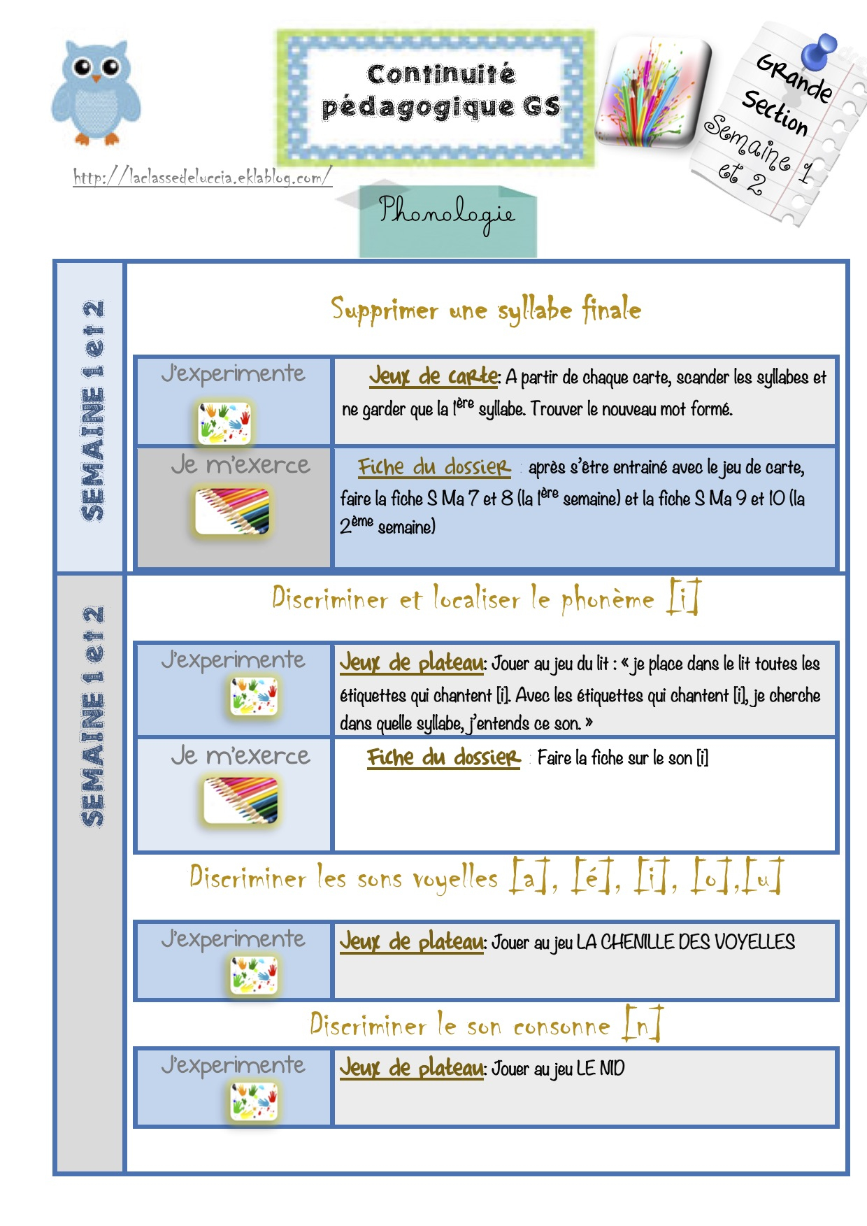 Continuité Pédagogique Gs Semaine 1 Et 2 - La Classe De Luccia ! tout Jeux Pedagogique Maternelle