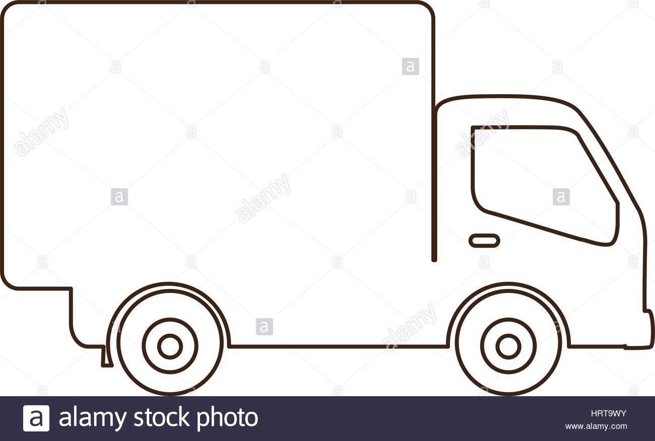 Contour Dessin Camion De Transport Avec L'icône De Chariot intérieur Dessin D Un Camion