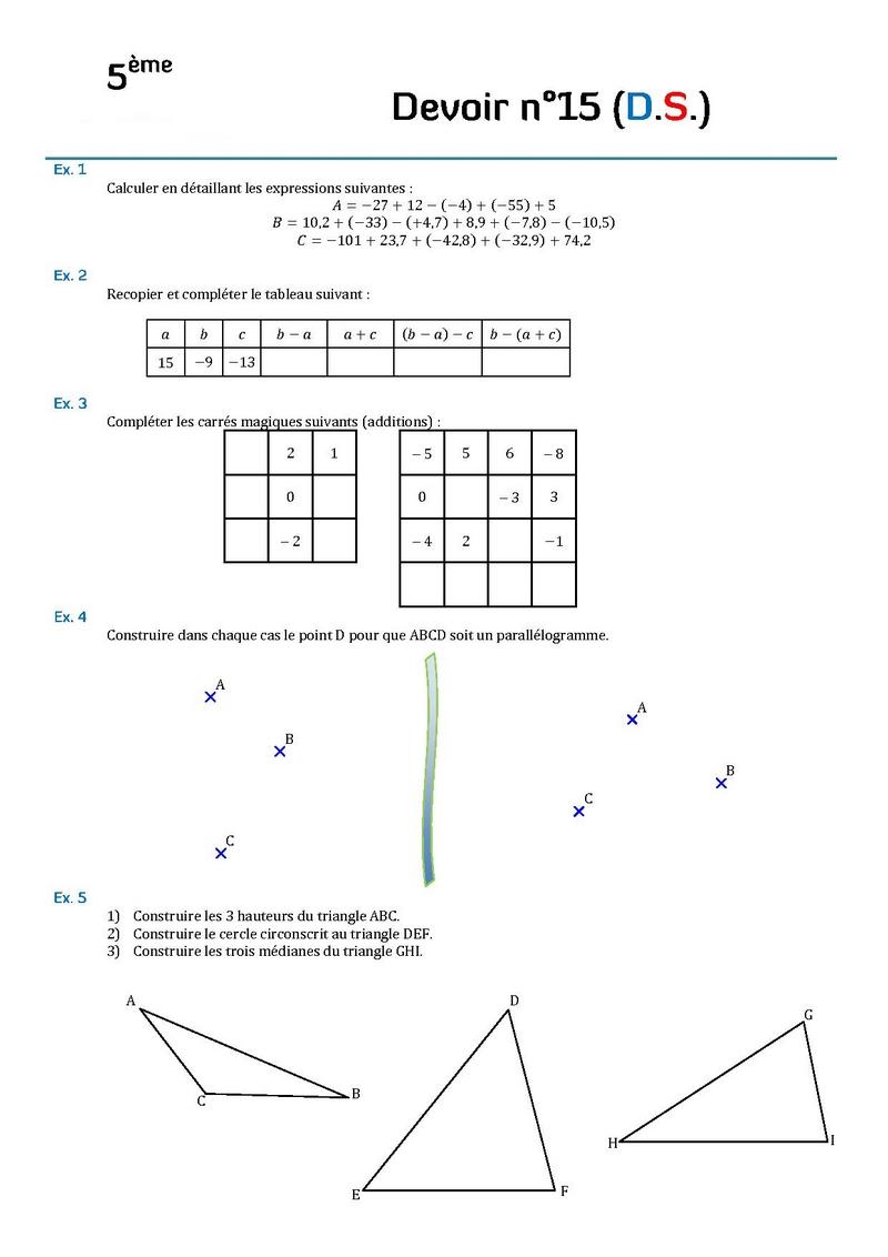 Contrôle De Mathématiques En Cinquième (5Ème).devoirs dedans Symétrie Cm1 Évaluation
