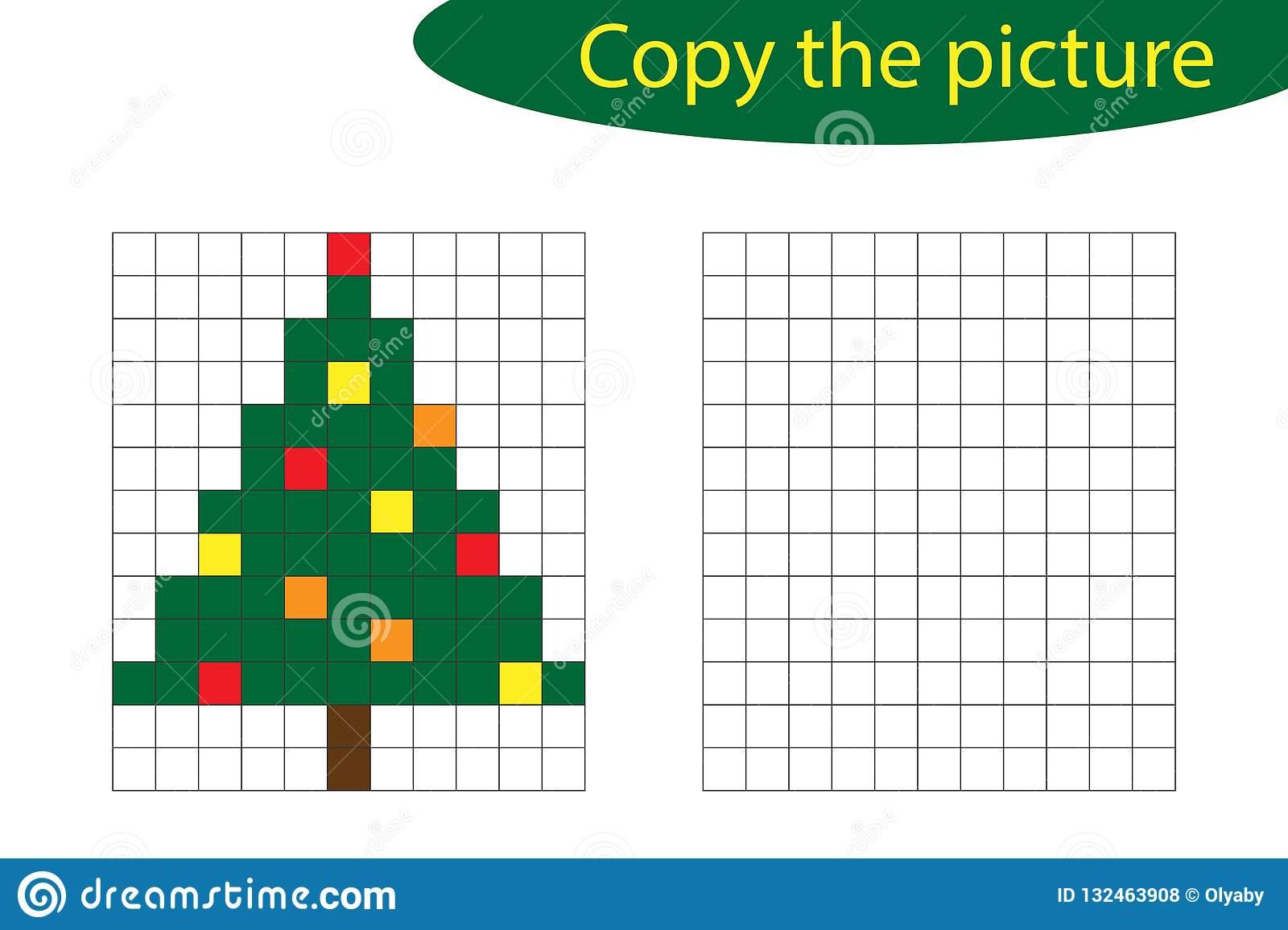 Copiez L'image, Art De Pixel, Bande Dessinée D'arbre De Noël tout Jeux Dessin Pixel