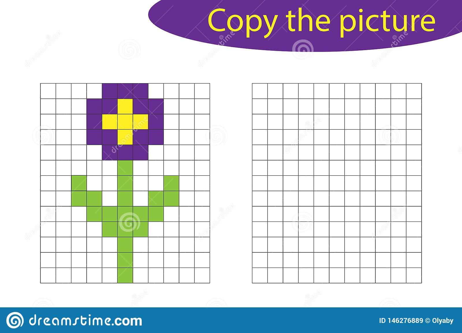 Copiez L'image, Art De Pixel, Bande Dessinée De Fleur, La dedans Jeux Dessin Pixel