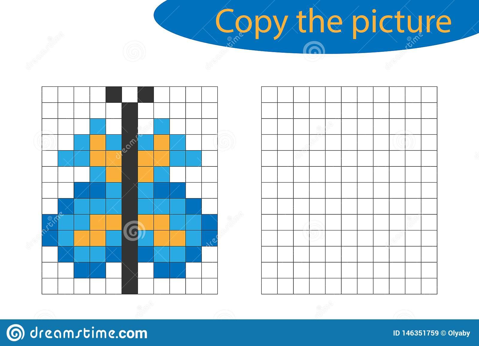Copiez L'image, Art De Pixel, Bande Dessinée De Papillon, La pour Jeux Dessin Pixel