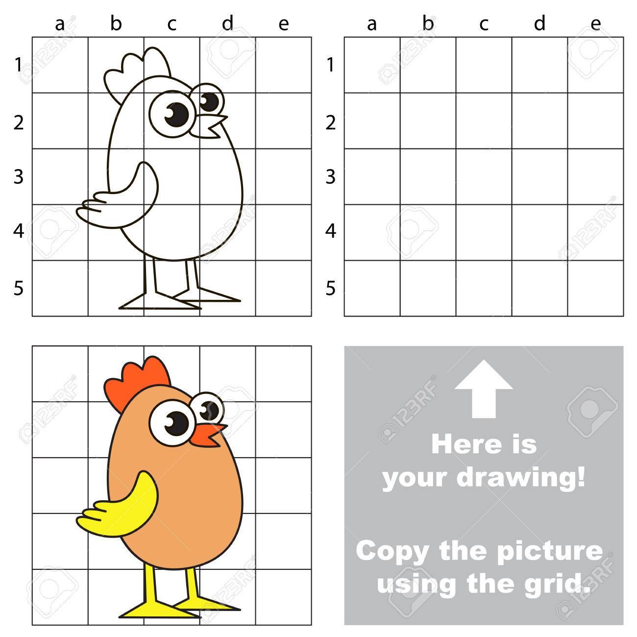 Copiez L'image En Utilisant Des Lignes De Quadrillage, Le Jeu Éducatif  Simple Pour L'éducation Des Enfants D'âge Préscolaire Avec Un Niveau De Jeu tout Dessin Sur Quadrillage