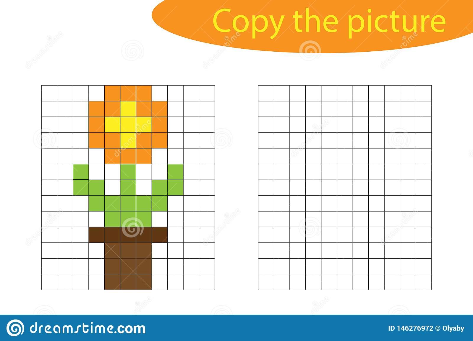 Copiez L'image, L'art De Pixel, Fleur Dans La Bande Dessinée dedans Jeux De Dessin Pixel Art Gratuit