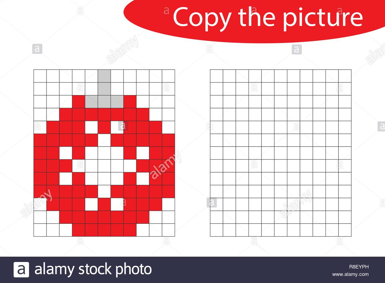 Copy The Picture, Pixel Art, Christmas Ball Cartoon, Drawing intérieur Pixel Art De Noël
