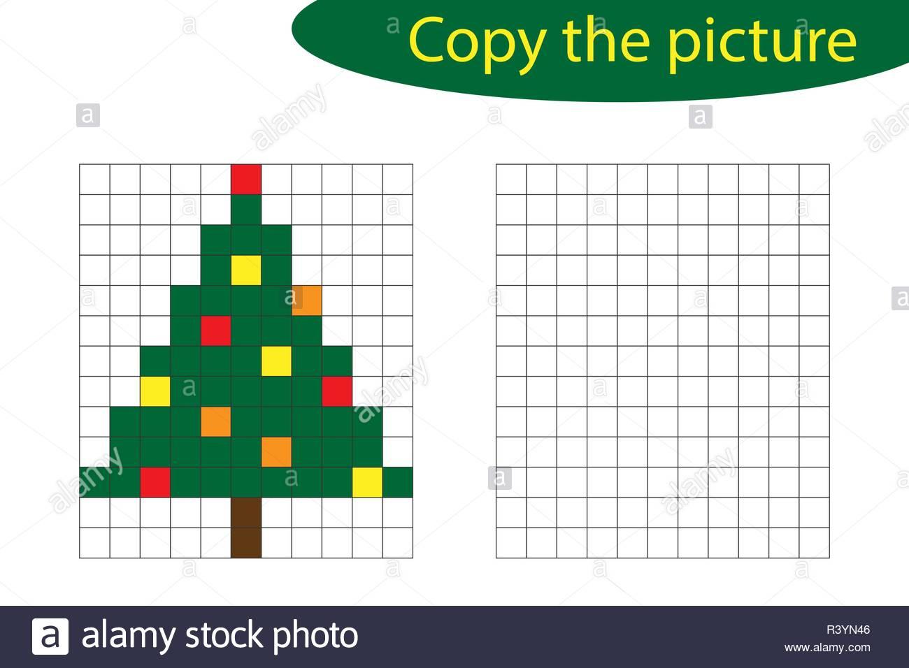 Copy The Picture, Pixel Art, Christmas Tree Cartoon, Drawing encequiconcerne Pixel Art De Noël