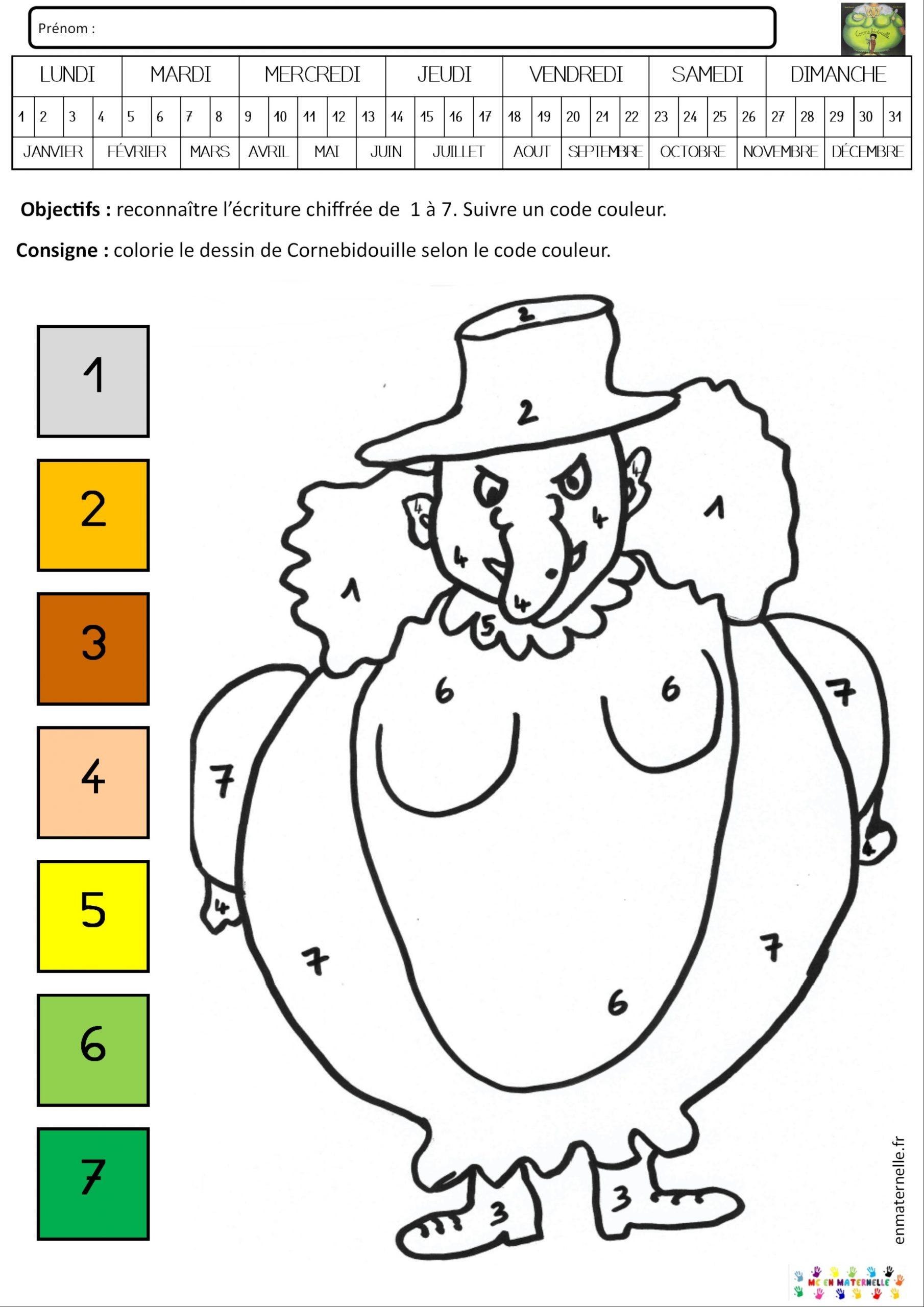 Cornebidouille : Coloriage Magique De 1 À 7 – Mc En Maternelle encequiconcerne Coloriage Magique Petite Section