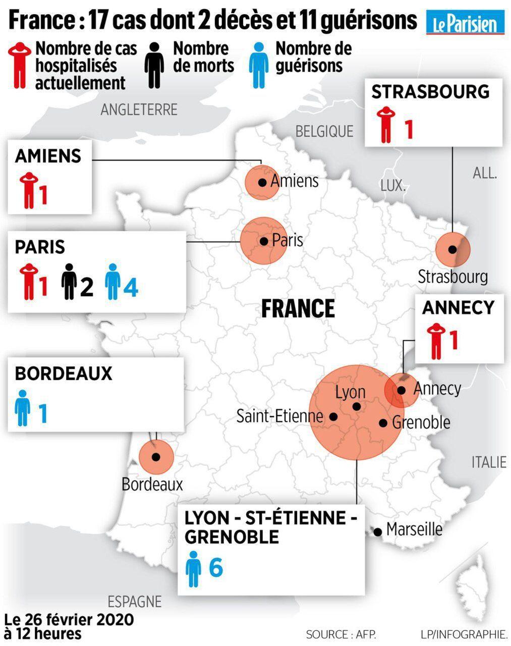 Coronavirus : 18E Cas En France, Jusqu'à 20 Jours D intérieur Nombre De Region