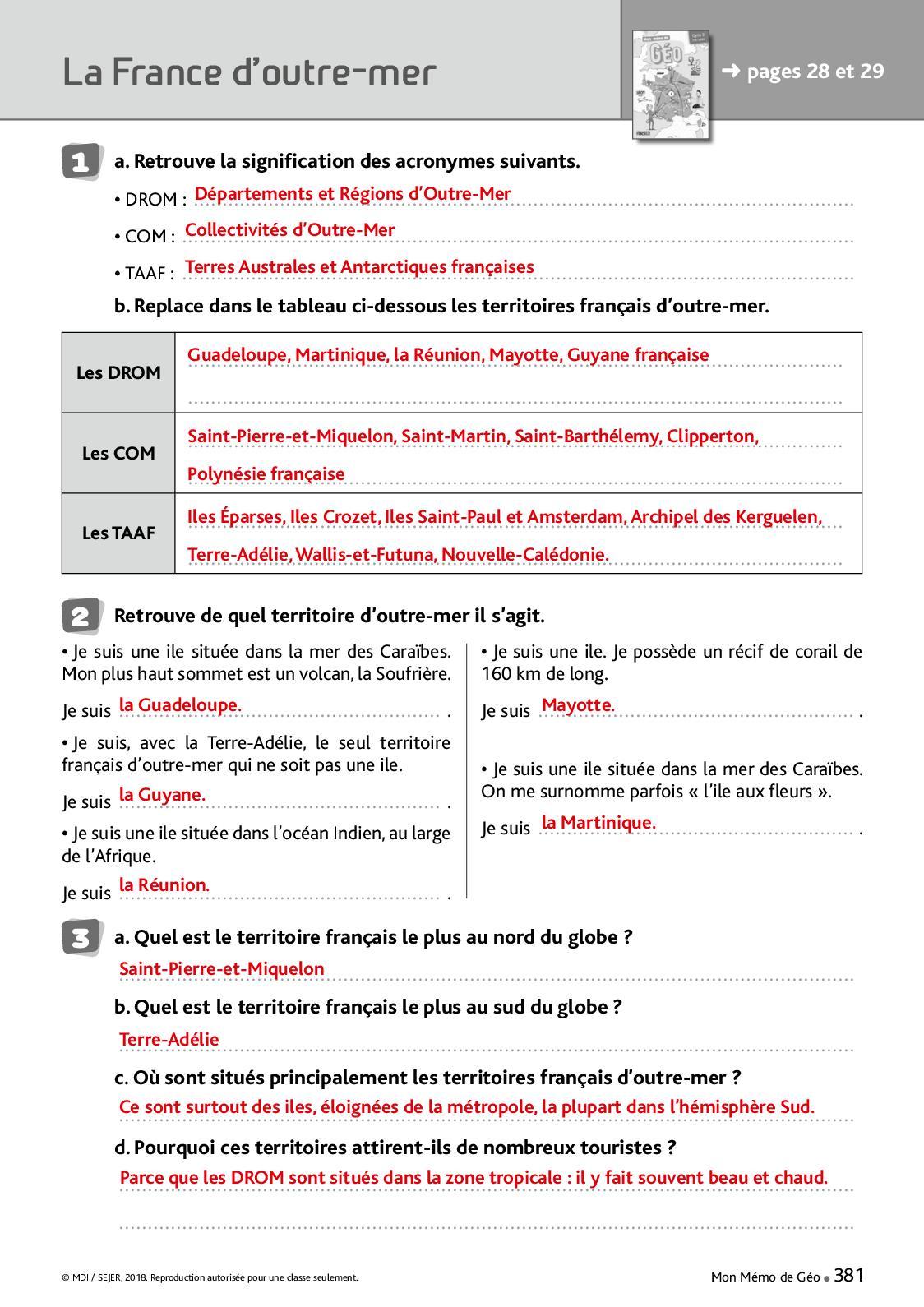 Corrigés Mémo Fichier Géo Cycle 3 - Calameo Downloader encequiconcerne Tableau Des Départements Français