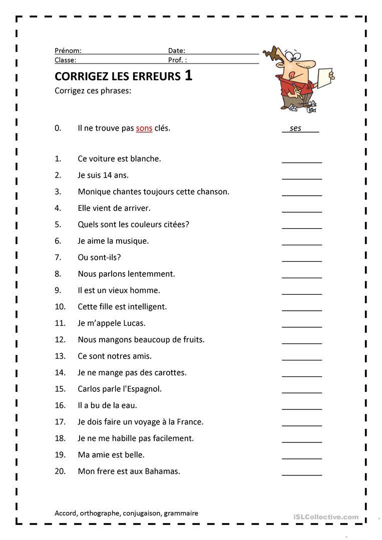 Corrigez Les Erreurs 1 - Français Fle Fiches Pedagogiques destiné Trouver Les Erreurs À Imprimer
