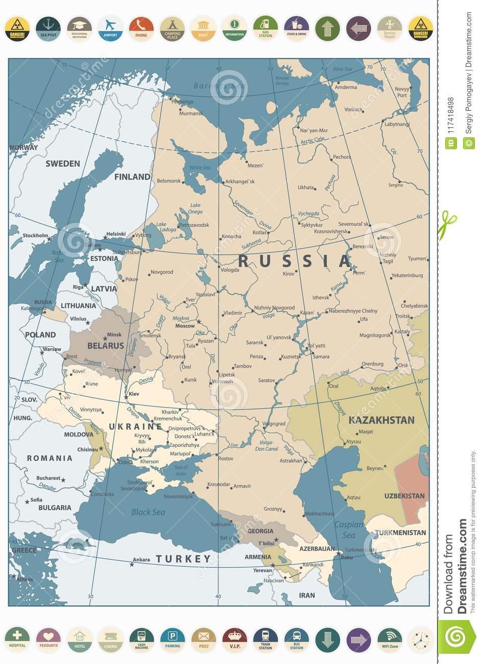 Couleur De Carte De L'europe De L'est Rétro Et Icônes Plates encequiconcerne Carte Europe De L Est