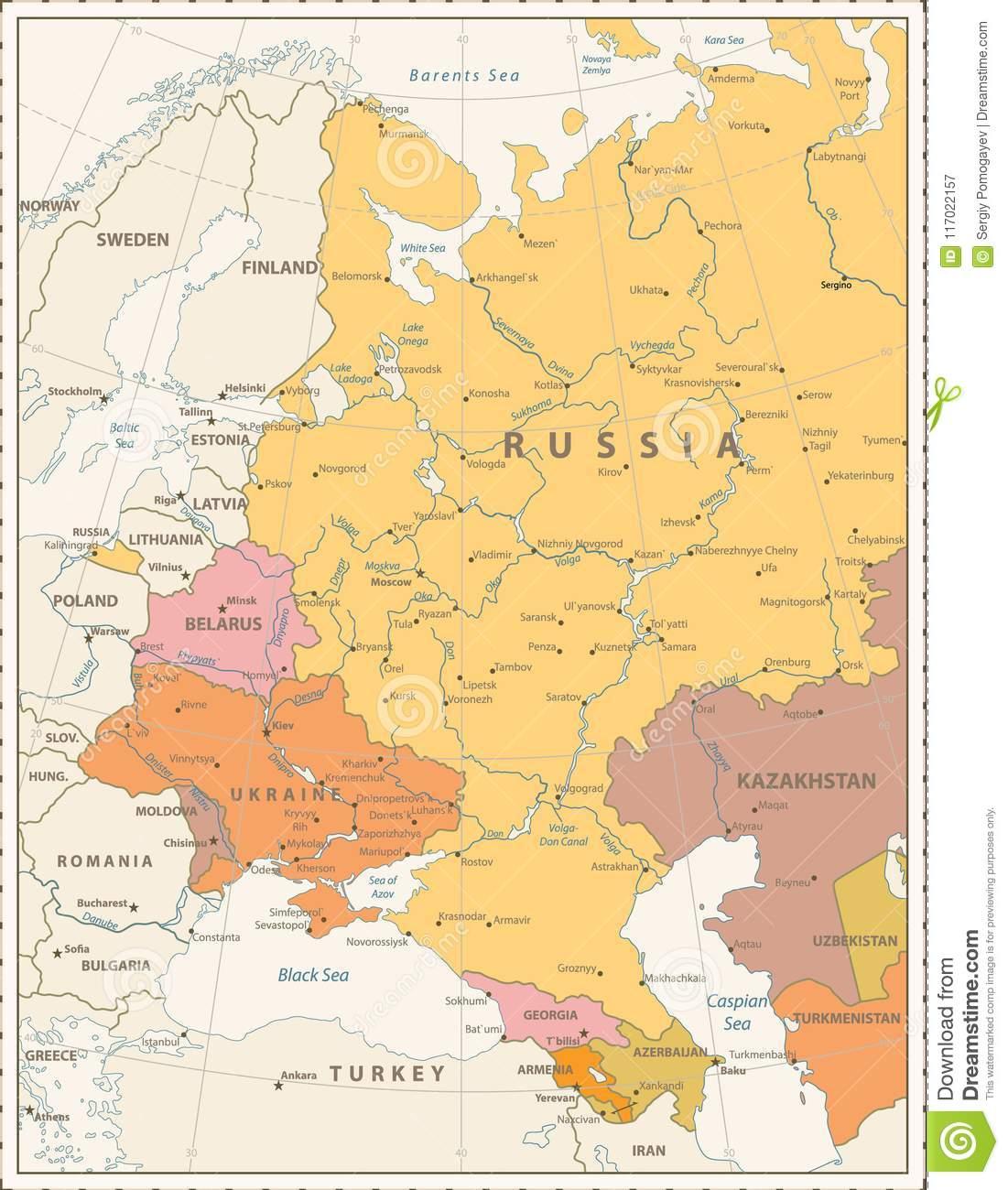Couleur Politique De Vintage De Carte De L'europe De L'est serapportantà Carte Europe De L Est