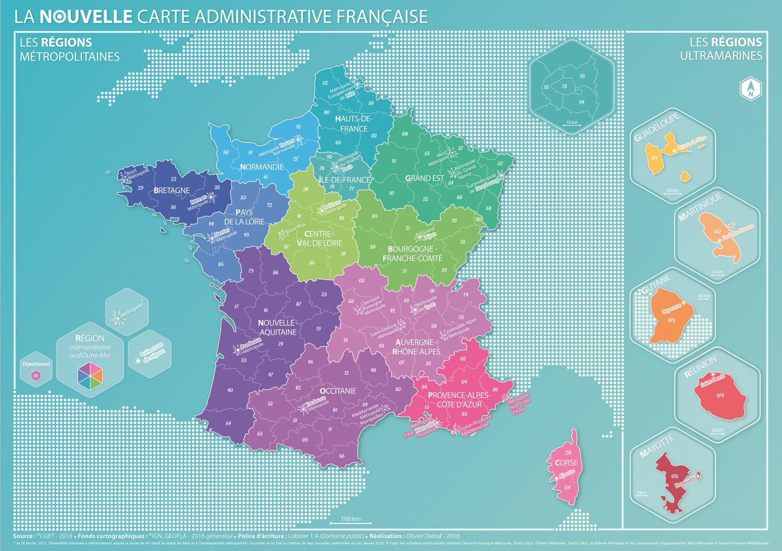 Coup De Jeune Sur La Carte Des Régions - Décryptagéo, L pour Carte Des Régions De La France