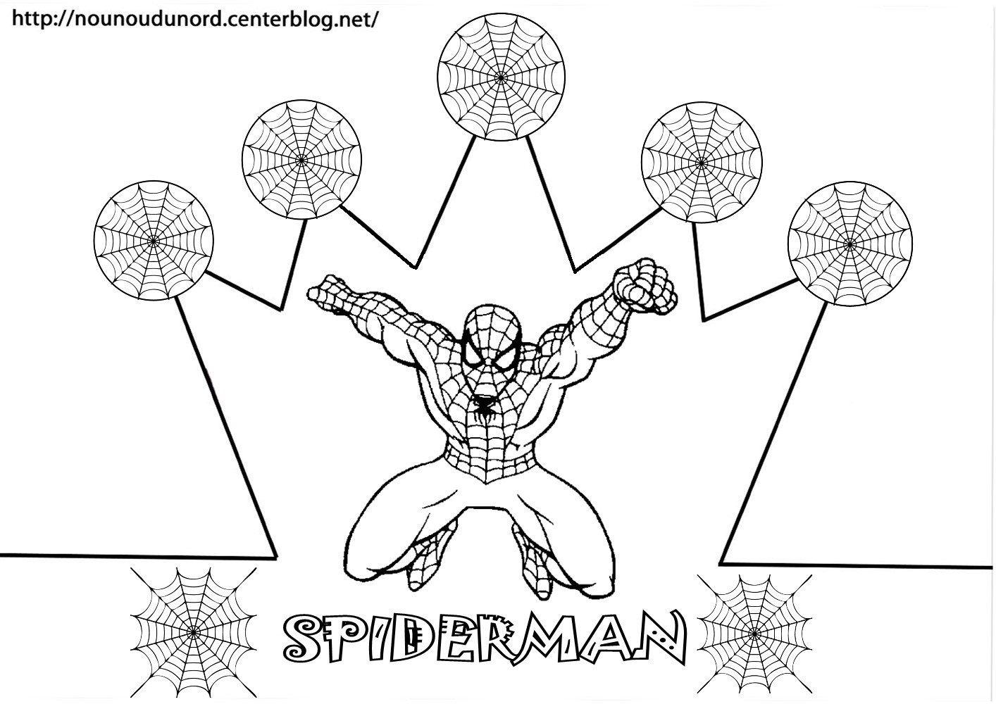 Couronne Spiderman À Colorier | Coloriage Anniversaire encequiconcerne Tete Spiderman A Imprimer