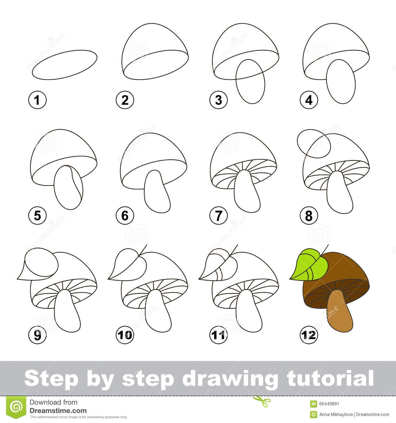 Cours De Dessin Comment Dessiner Un Champignon Illustration encequiconcerne Dessiner Un Champignon