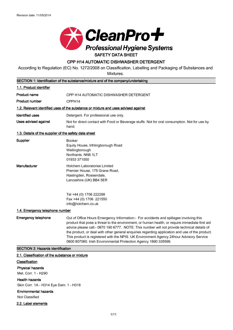 Cpp H14 Automatic Dishwasher Detergent Msds Download encequiconcerne Revision Grande Section