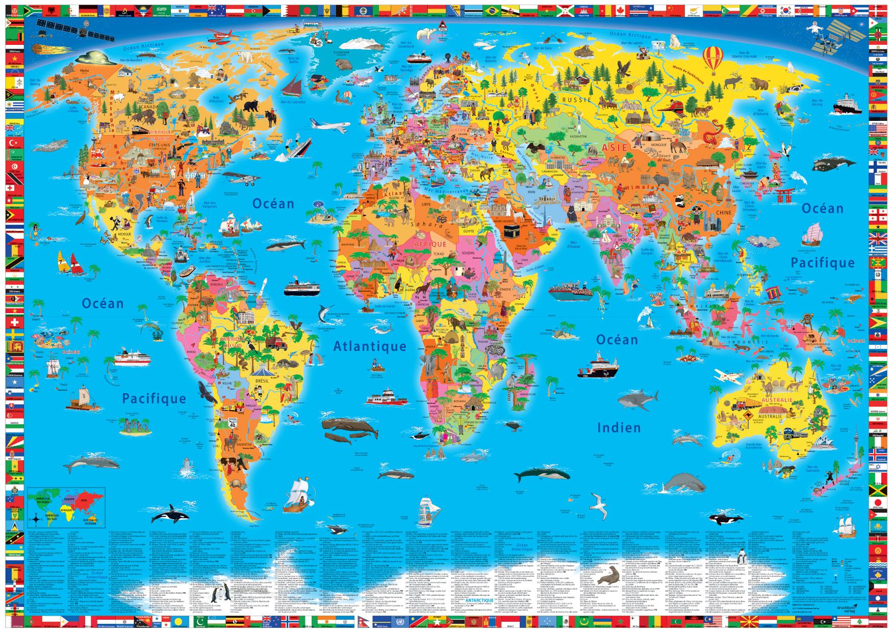 Craenen: Kruger Und Schonhoff serapportantà Carte Du Monde Enfant