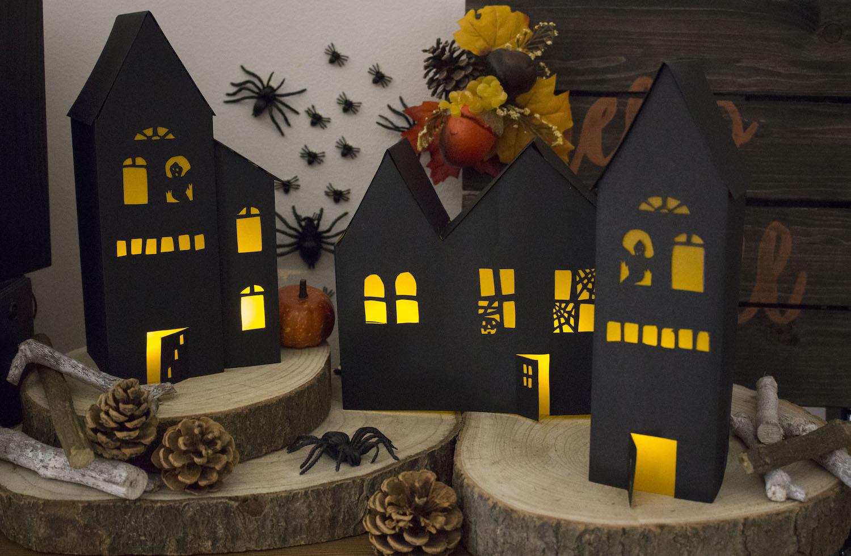 Créez Vos Photophores Maisons Hantées D'halloween - Patron destiné Patron De Maison En Papier A Imprimer