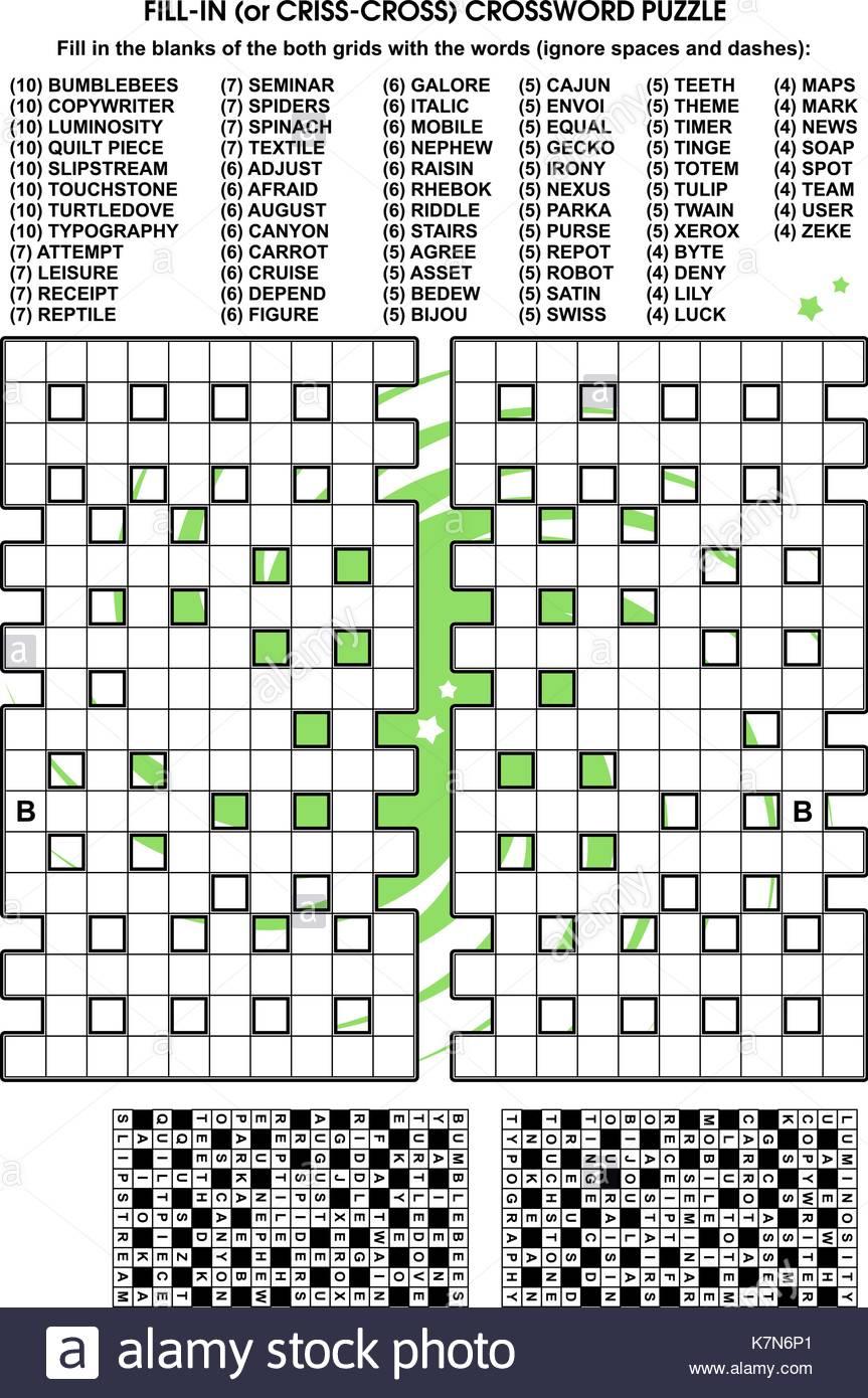 Criss-Cross Word Puzzle - Combler Les Vides De La Grille De pour Réponse Mots Fléchés