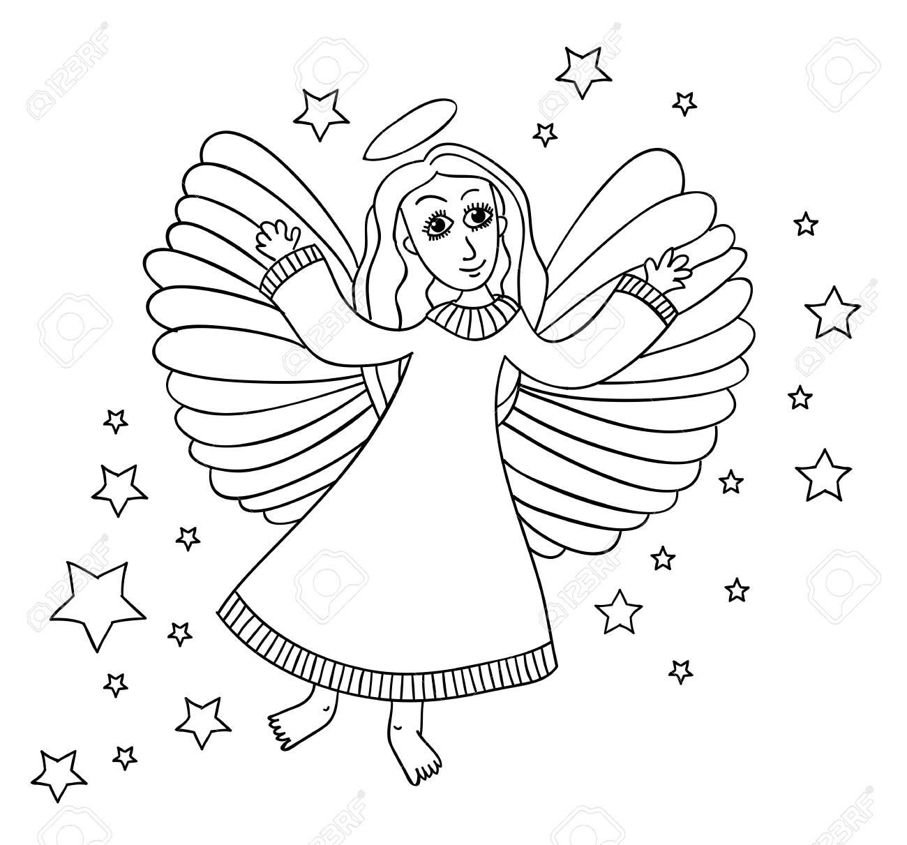 Croquis D'ange Avec Des Étoiles. Page Pour Le Livre De Coloriage. Mains  Dessiner Le Travail Dans Le Doodle Éventé. Couleurs Noires Et Wight. pour Ange A Colorier
