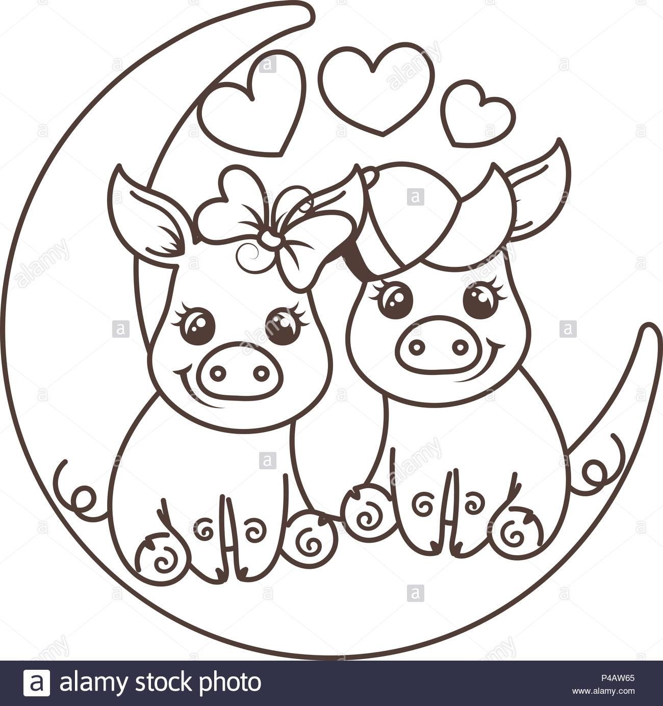 Cute Cartoon Bébé Cochons Dans L'amour Sur Une Lune pour Dessin Cochon A Colorier