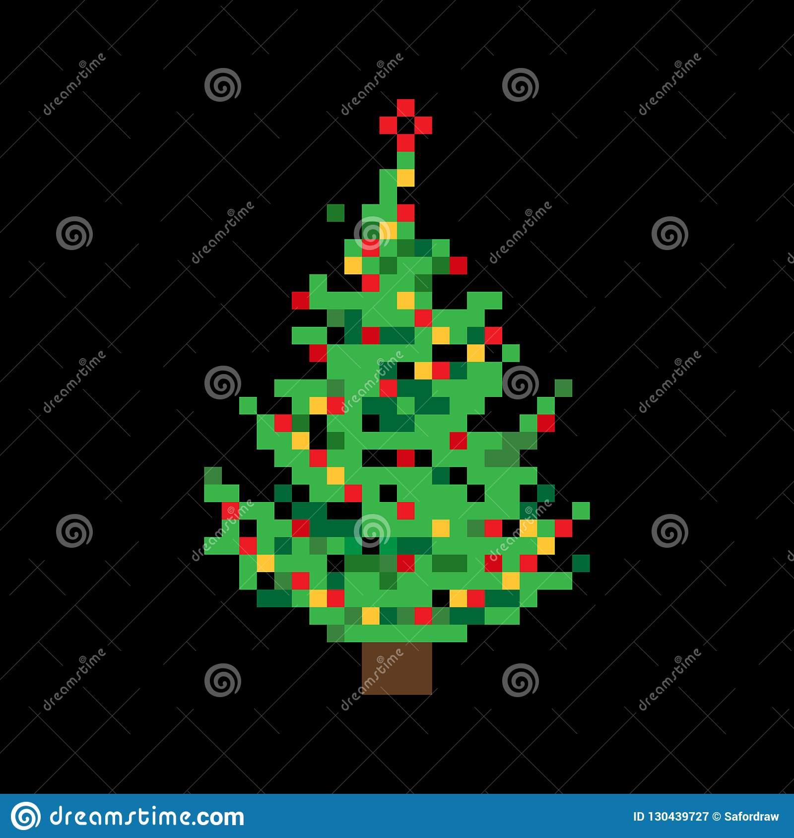 Cute Colorful Flat Vector Pixel Art Christmas Tree With intérieur Pixel Art De Noël