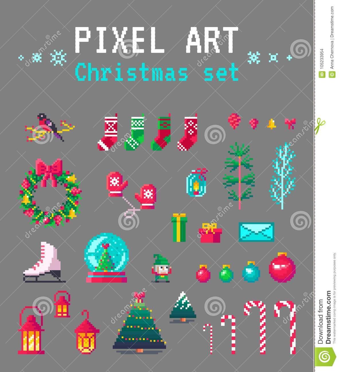 Cute Pixel Art Christmas Set For Design. Stock Vector avec Pixel Art De Noël