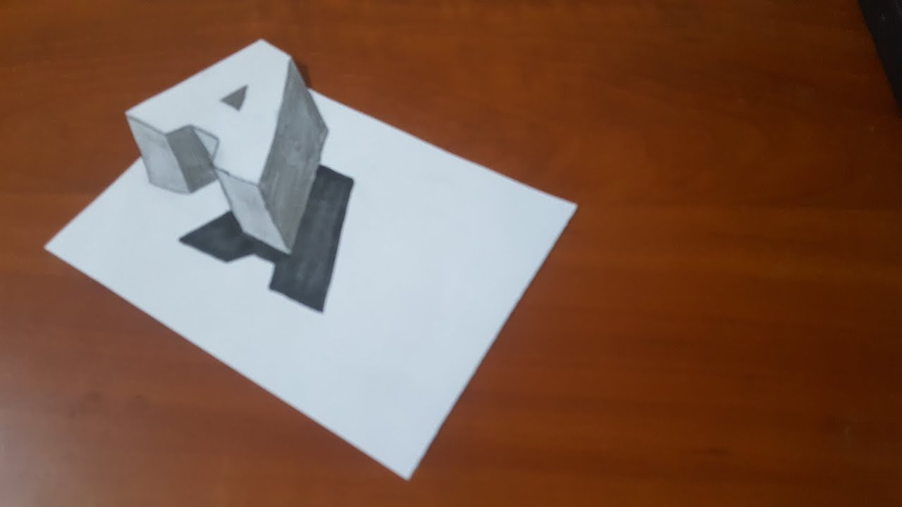 كيفية رسم حرف A ثلاثي الأبعاد / Dessin 3D Flottant Lettre A tout Dessin Lettre E