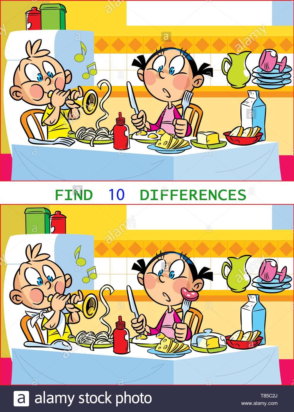 Dans Le Vector Illustration Puzzle Avec Les Enfants Qui dedans Trouver La Différence