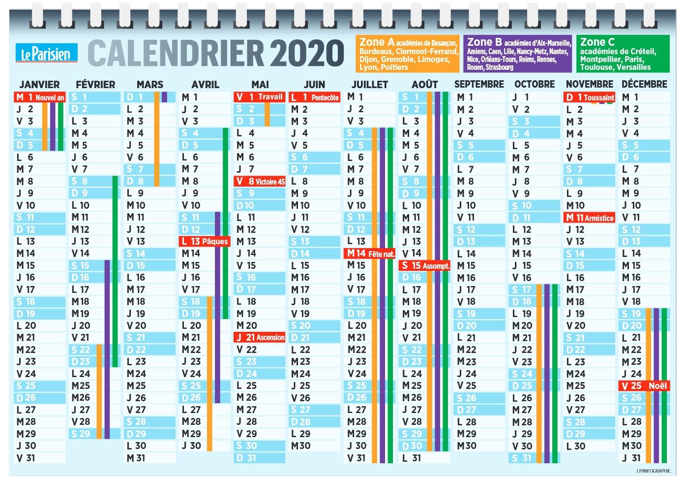 Dates Des Vacances 2019 / 2020 De La Rentrée 2020 - Pratique destiné Calendrier 2018 À Imprimer Avec Vacances Scolaires