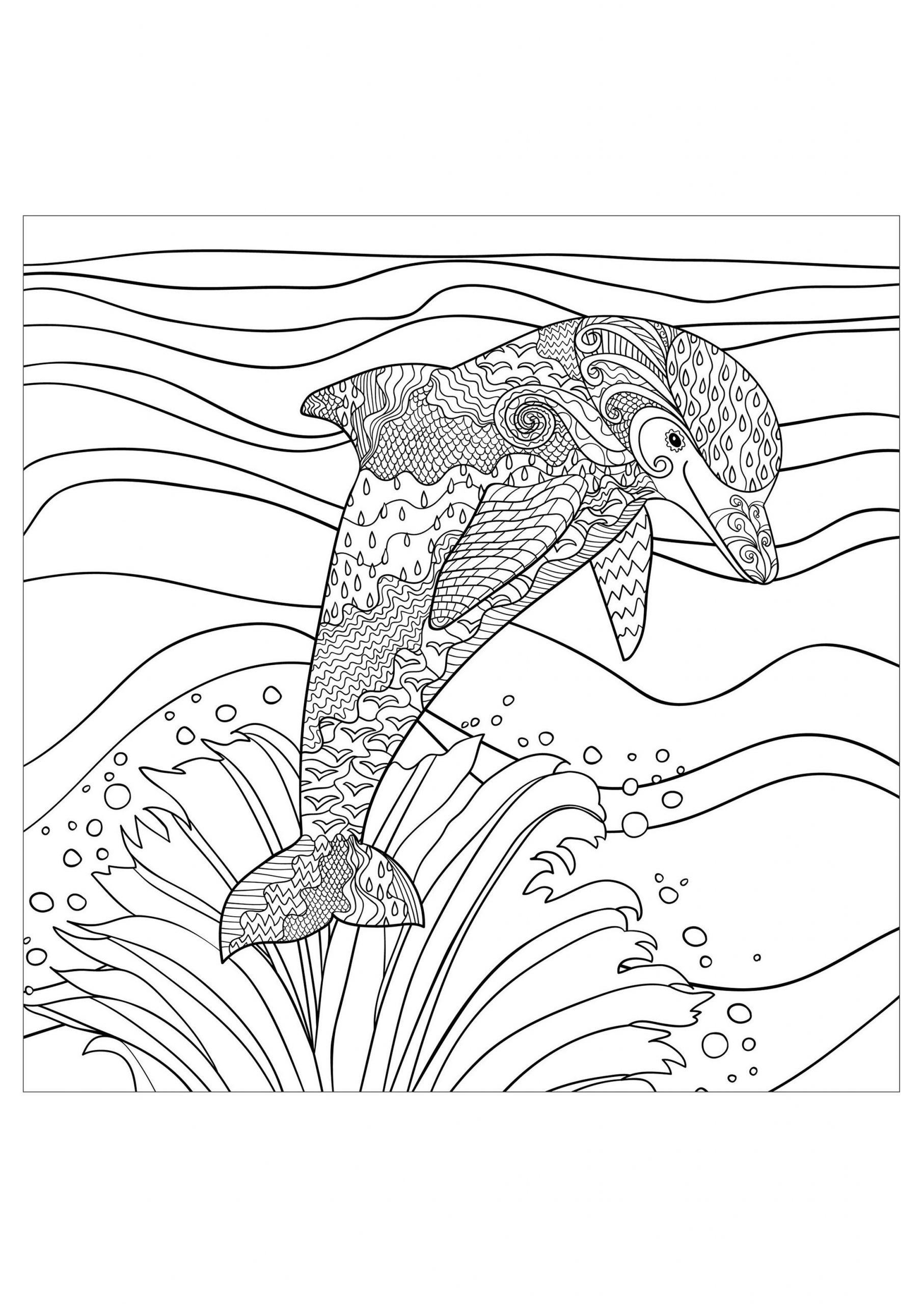 Dauphin Vagues Mer - Dauphins - Coloriages Difficiles Pour dedans Coloriage A Imprimer De Dauphin