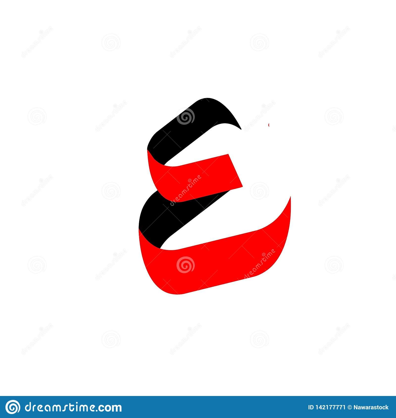 De Couleur Noire De La Lettre E Couleur Arabe Et Rouge Pour destiné Dessin Lettre E