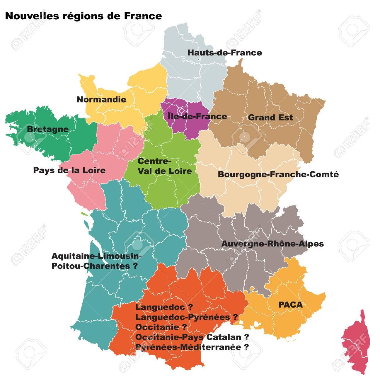 De Nouvelles Régions Françaises. Nouvelles Régions De France. Départements  Séparés tout Départements Et Régions De France