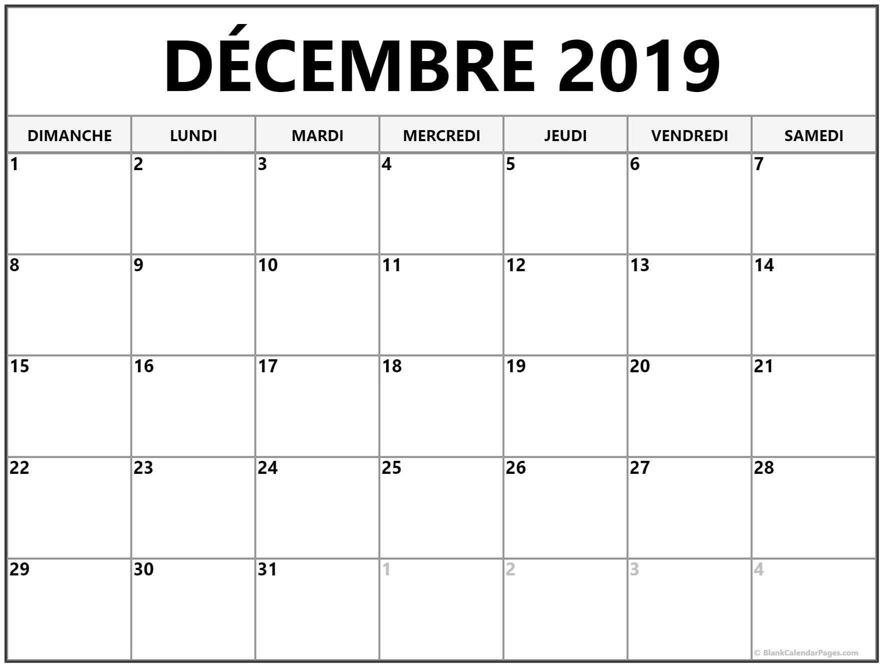 Décembre 2019 Calendrier Gratuit | Calendrier Imprimable concernant Calendrier D Anniversaire Gratuit À Imprimer