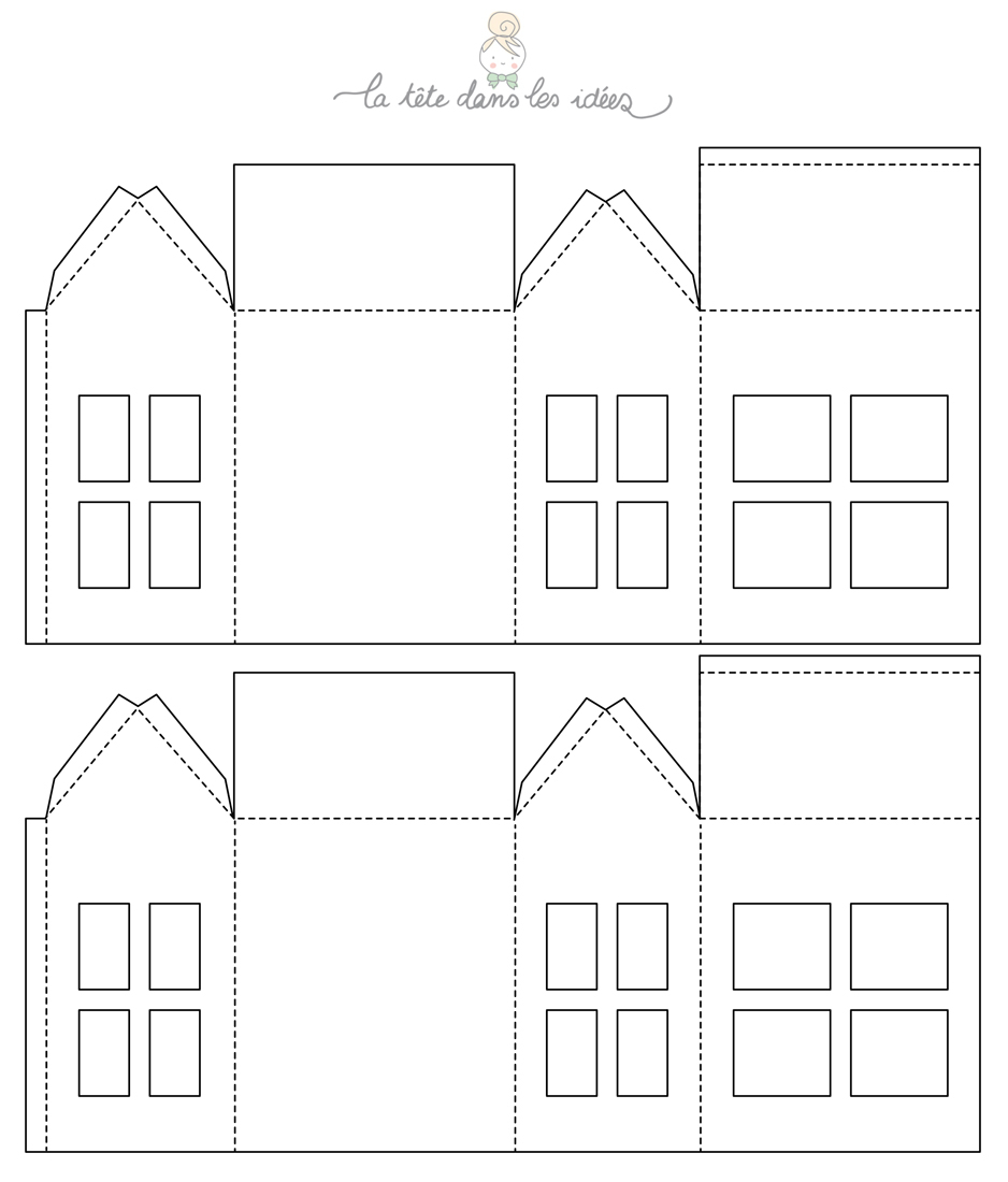 Deco Noel Maison Papier - L'ile De La Réunion | Maisons En dedans Patron De Maison En Papier A Imprimer