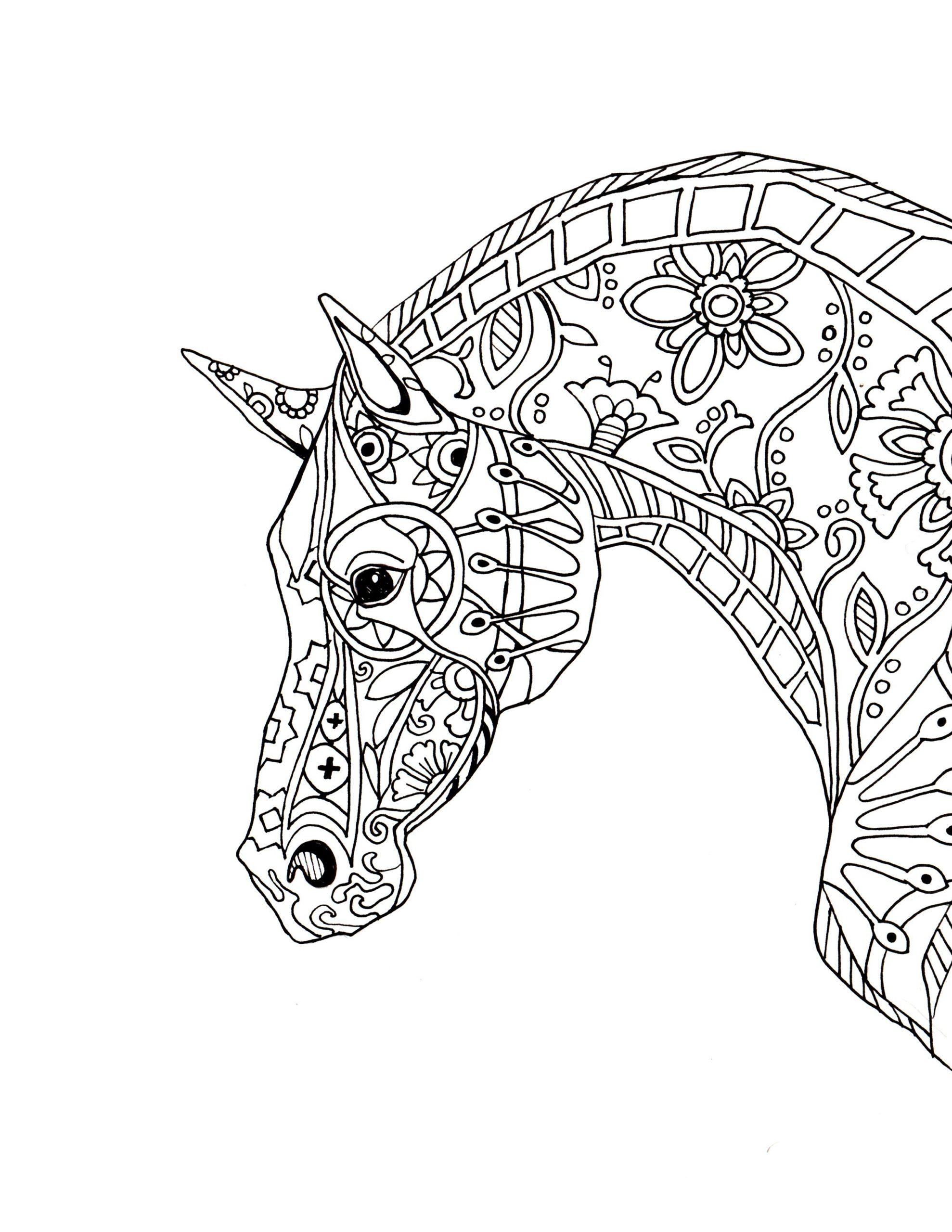 Decorative-Horse-Profile | Coloriage Cheval, Coloriage à Jeux De Coloriage De Cheval