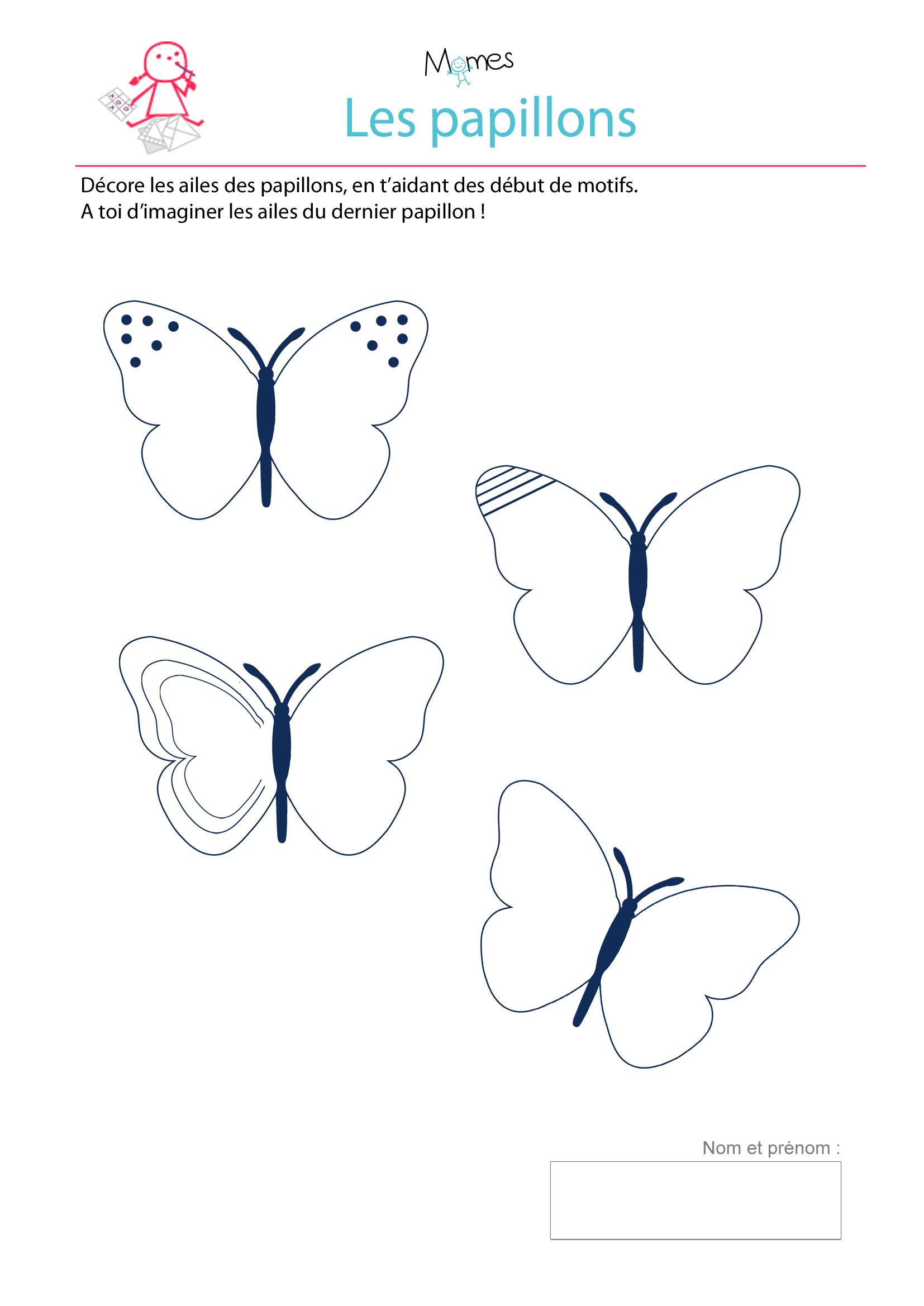 Décore Les Ailes Des Papillons - Exercice À Imprimer - Momes tout Graphisme Maternelle A Imprimer Gratuit