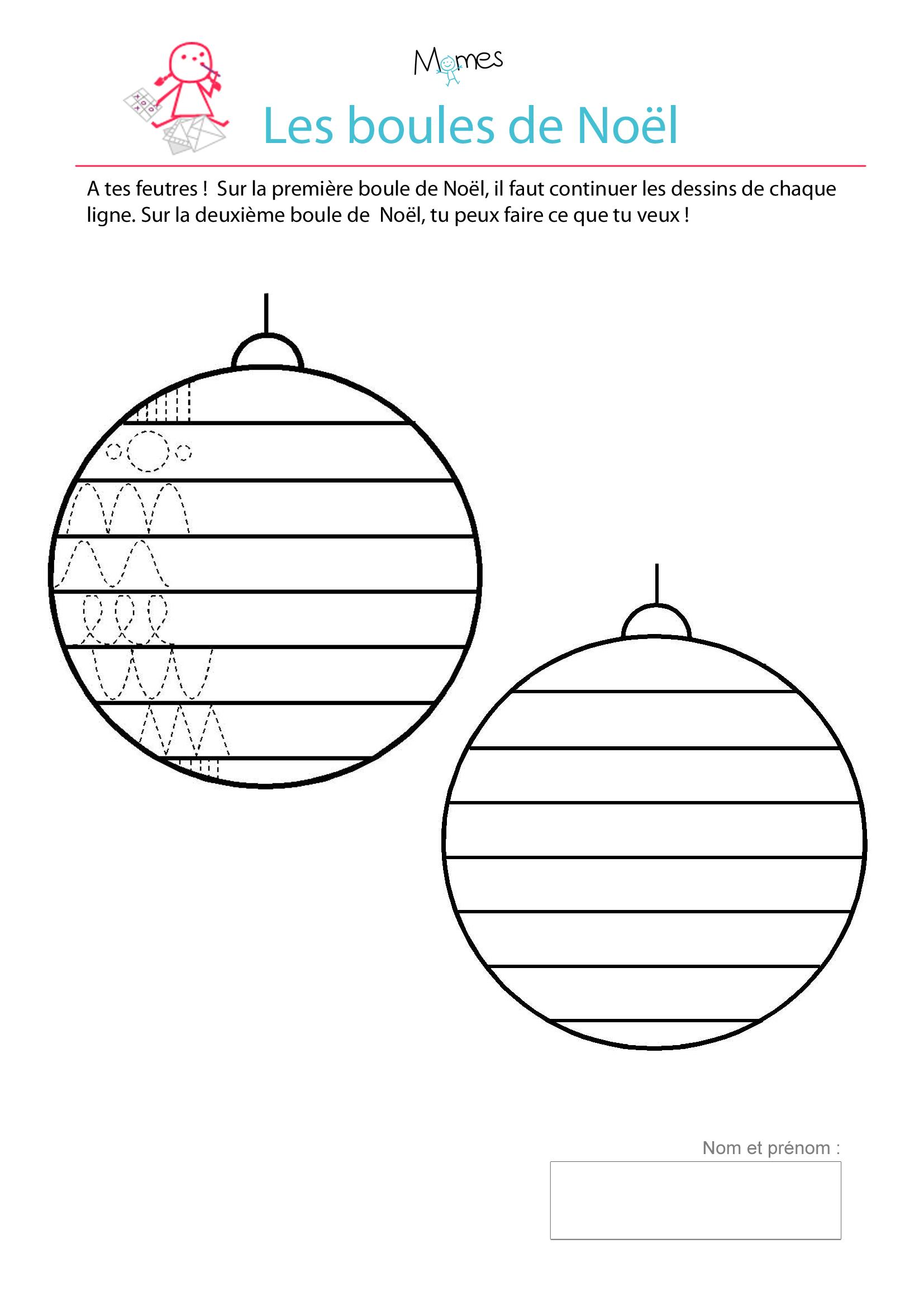 Décore Les Boules De Noël - Exercice De Tracé - Momes tout Graphisme Maternelle A Imprimer Gratuit