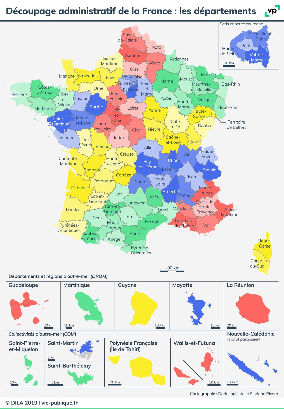 Découpage Administratif De La France : Les Départements intérieur Région Et Département France